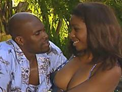 An intense black couple fuck in the great outdoors