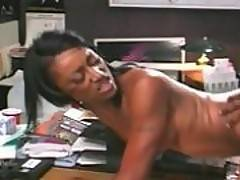 A sexy black babe gets laid big time in this scene
