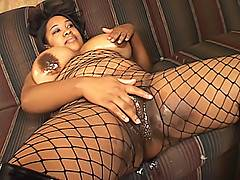Big titted black BBW is soaking wet for her man, as her chubby body is ravaged by his cock