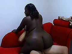 He's got a craving for some fat dark chocolate, and this slut satisfies it with her snatch