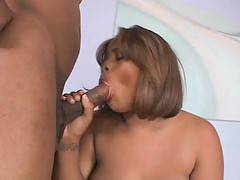 Naughty ebony plumper Sunshine has a voluptuous body that turn guys on. With her curvy body and her expert oral skills she makes her boyfriend super horny that he lifts her legs and shoves his hard schlong in her juicy pussy, drilling it in and out.