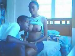 Black guy gets a blowjob from his girlfriend after sucking her tits