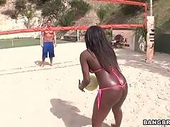 Sexy and black Tatiyana Foxx likes to play with her bf