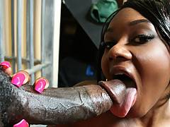 Sexy hot black slut gets her awesome big ass hosed