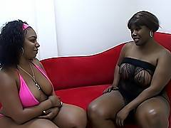 These two dark BBWs open their legs wide for their girlfriend to lick all of their juices